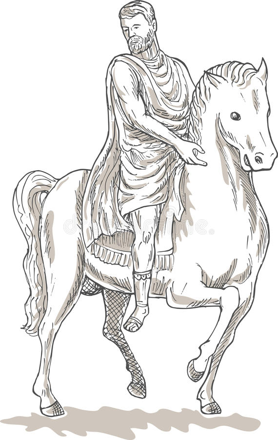 Cavalo romano do general do imperador ilustração stock