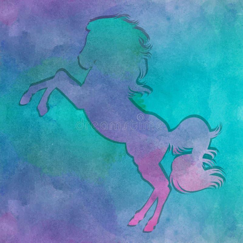Cavalo running da aquarela ilustração stock