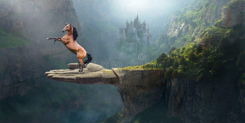 Cavalo selvagem da fantasia, imaginação, natureza, surreal fotos de stock
