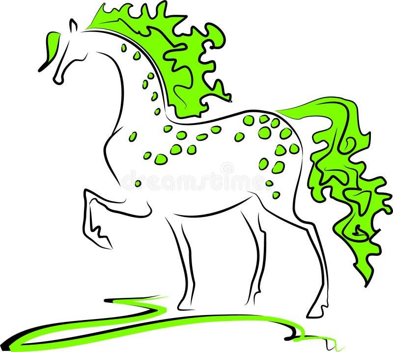Cavalo verde ilustração royalty free