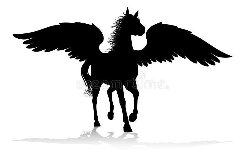 Cavalo voado mitológico da silhueta de Pegasus ilustração do vetor