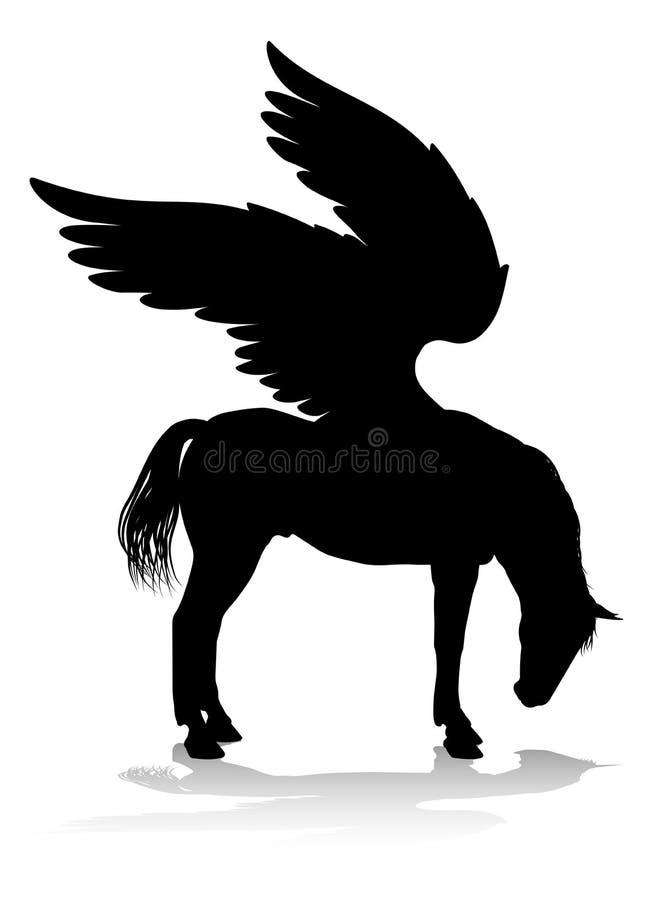 Cavalo voado mitol?gico da silhueta de Pegasus ilustração royalty free