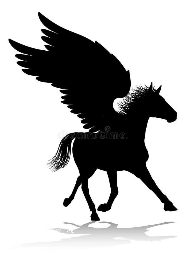Cavalo voado mitol?gico da silhueta de Pegasus ilustração do vetor