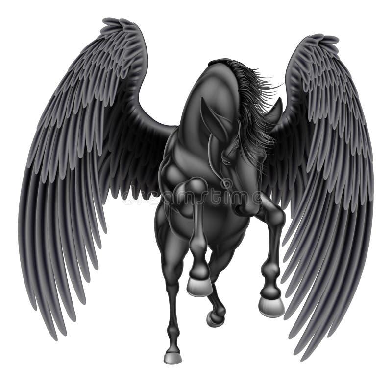 Cavalo voado Pegasus preto ilustração do vetor