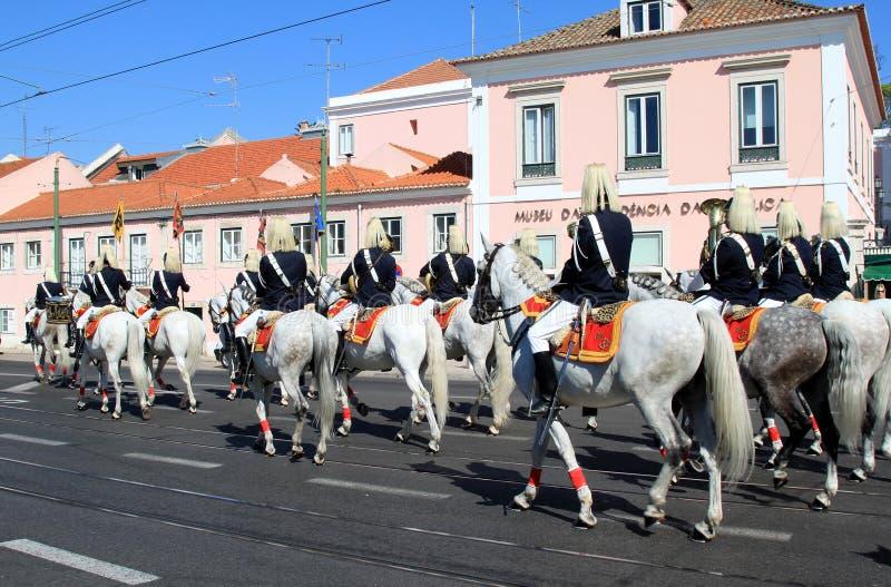 Cavalos de Lusitano da equitação do regimento de cavalaria, Belém foto de stock royalty free