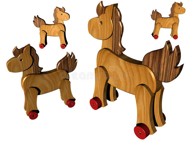 Cavalos de madeira ilustração do vetor