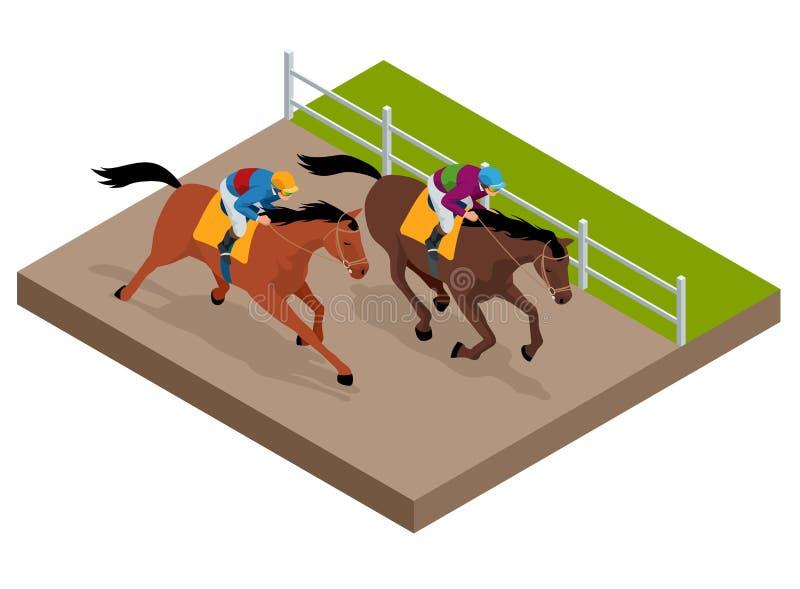 Cavalos de raça de galope isométricos em competir a competição que compete um com o otro Ilustração do vetor Esporte equestre ilustração stock