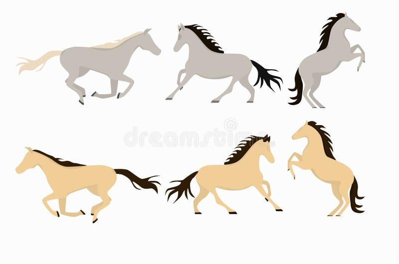 Cavalos de sorriso dos desenhos animados no grupo branco do fundo e do cavalo ilustração do vetor