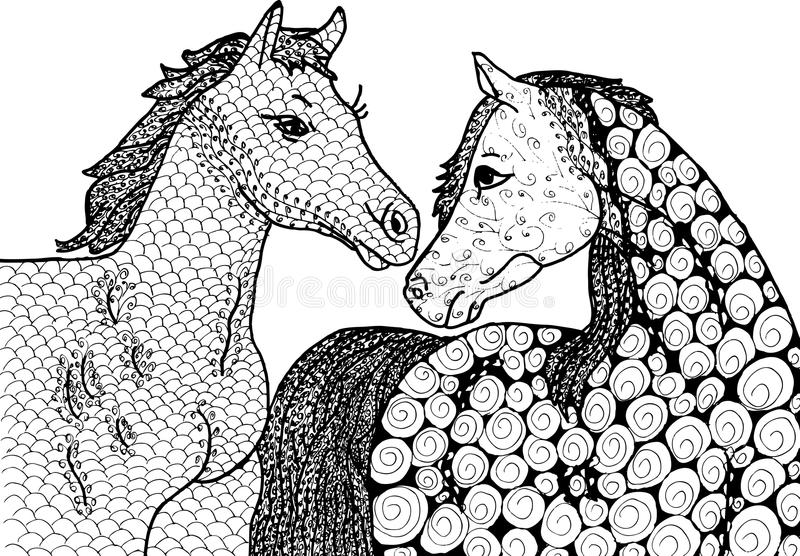 Cavalos do sumário dois ilustração royalty free