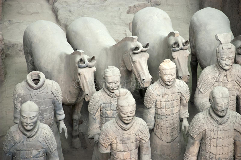 Cavalos dos soldados do exército do Terracotta, curso de Xian China imagem de stock royalty free
