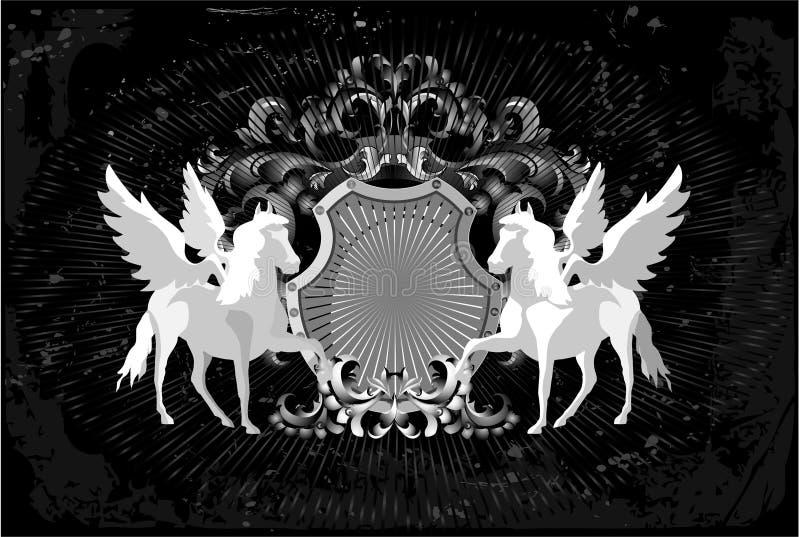 Cavalos e asas ilustração do vetor