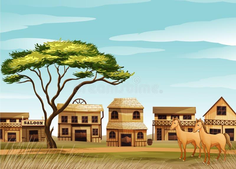 Cavalos e uma casa ilustração stock