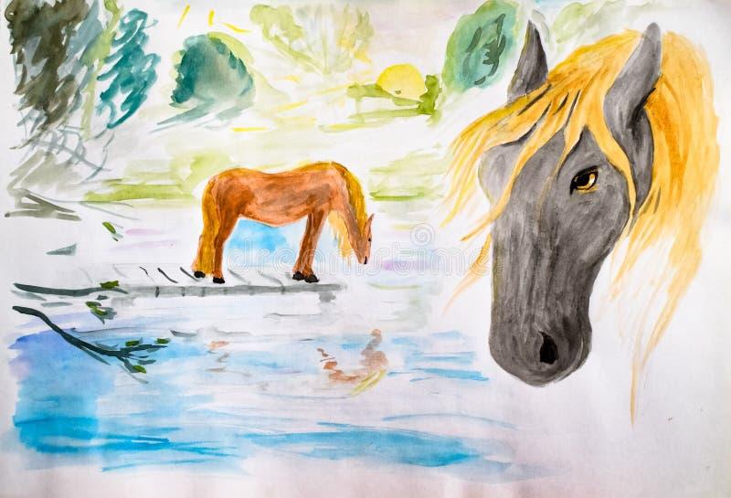Cavalos em molhar, aquarela de tiragem Cavalos de tiragem ilustração do vetor
