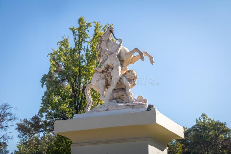 Cavalos margosos Caballitos de Marly Sculpture no general San Martin Park - Mendoza, Argentina fotografia de stock