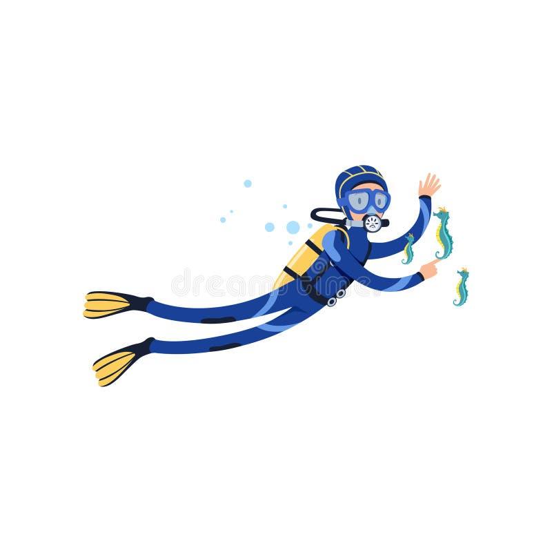 Cavalos marinhos e mergulhador no mundo subaquático Férias de verão Homem no roupa de mergulho, em óculos de proteção nadadores,  ilustração stock