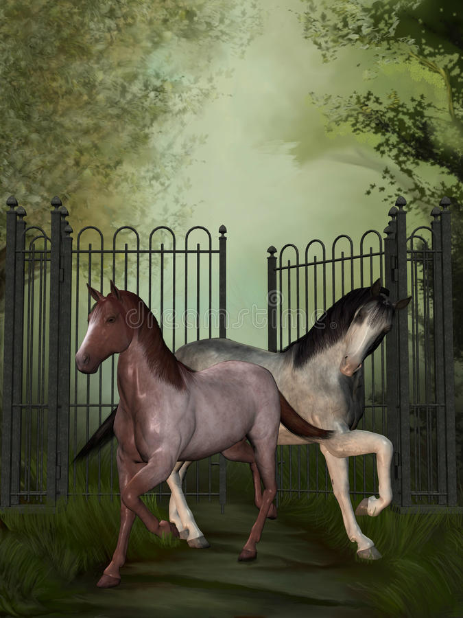Cavalos no parque ilustração royalty free