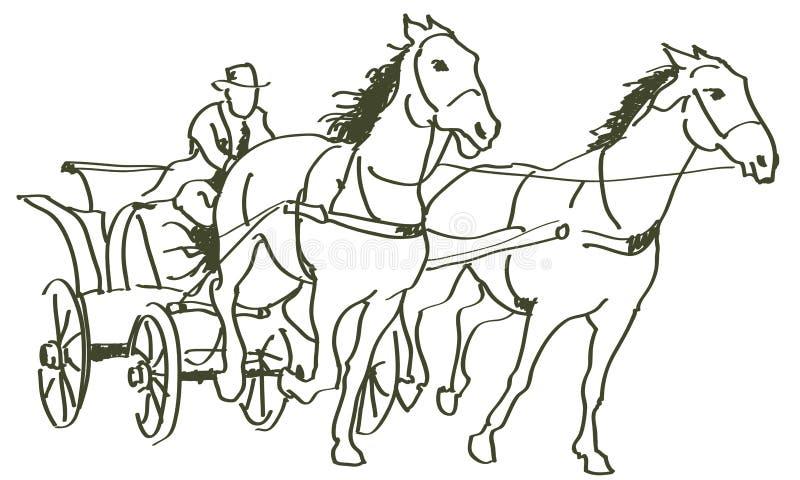 Cavalos tirados mão ilustração stock