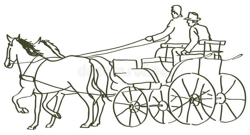 Cavalos tirados mão ilustração royalty free
