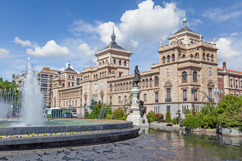 Cavalry Academy building on Zorilla square in Valladolid royalty free stock image
