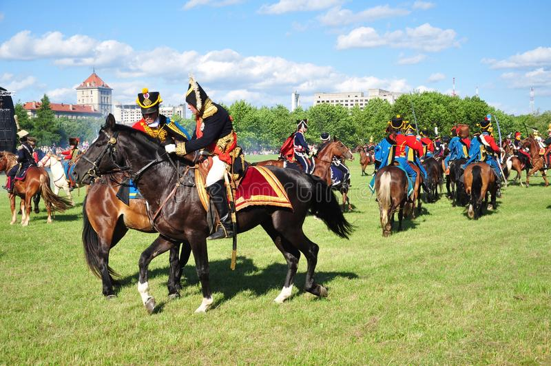 Cavalry attack with napoleon stock images