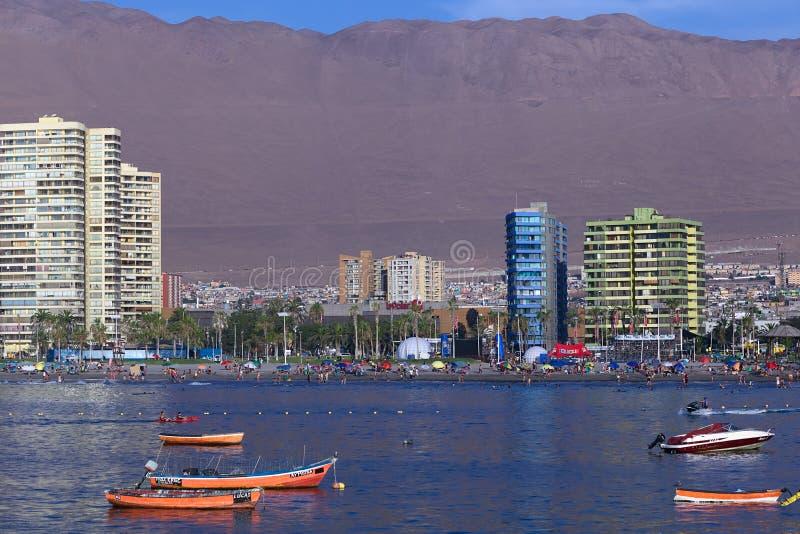 Cavancha海滩在伊基克,智利 免版税库存照片