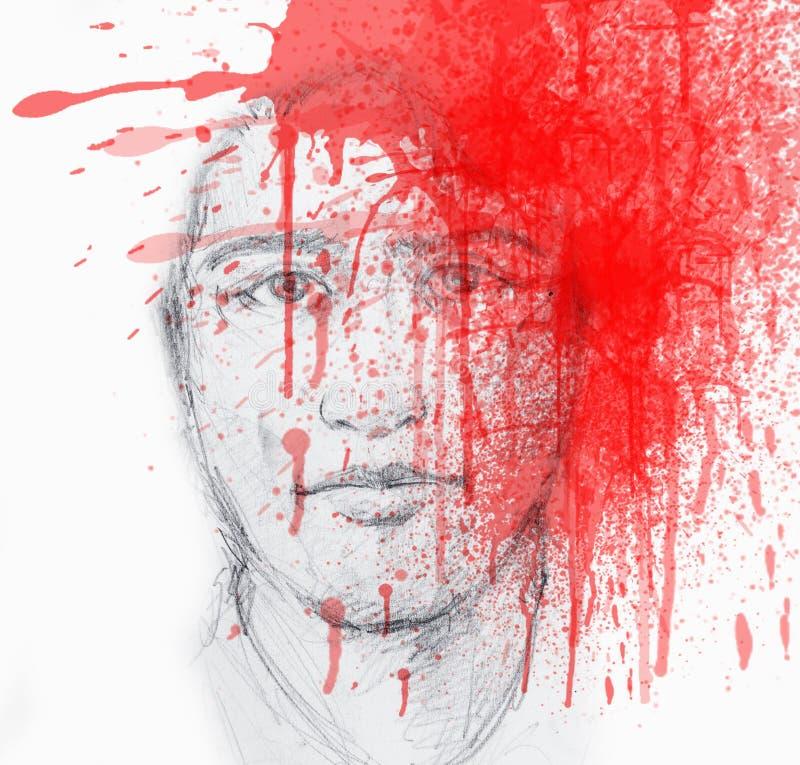 Cavando ritratto di un giovane con Splach rosso sangue sul suo fronte - schizzo della matita illustrazione vettoriale
