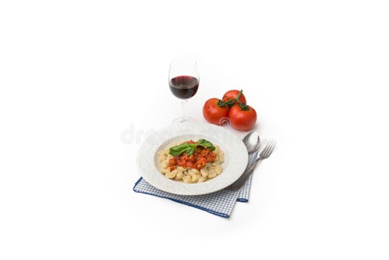 Cavatelli, Italian Pasta. Dish of typical italian pasta with pork sausage and tomato sauce stock image