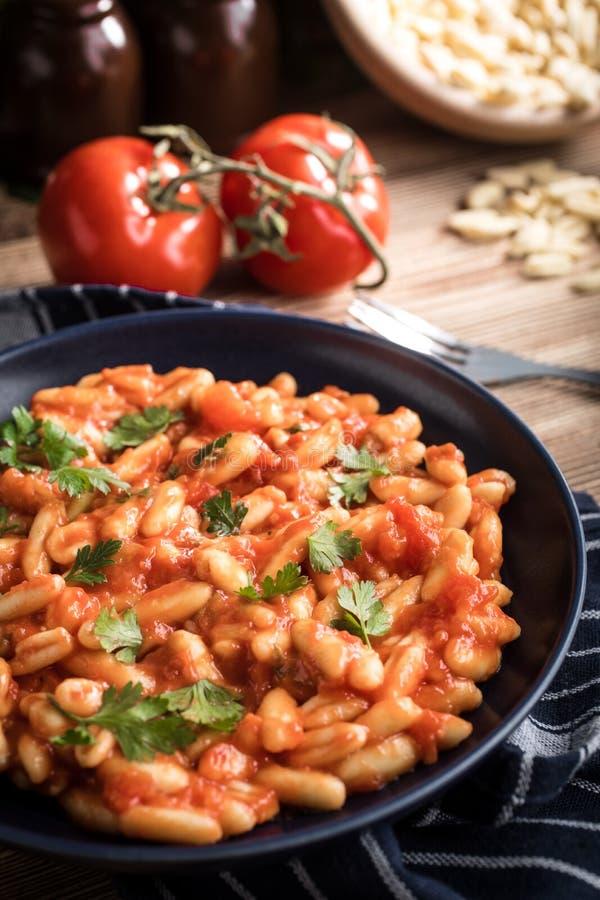 Cavatelli pasta med ny tomatsås royaltyfri bild