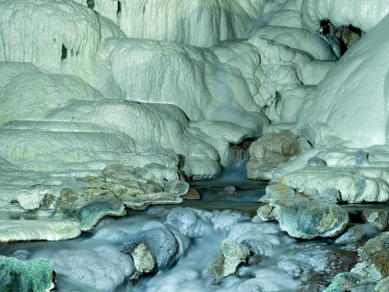 Cave. Long-exposure photographs of cave studies Kaklık village, denizli royalty free stock images