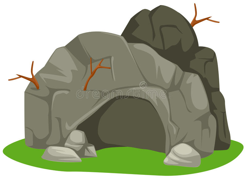 Cave. Illustration of isolated cartoon cave on white background vector illustration