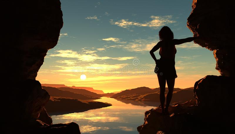 Download The cave. stock illustration. Image of outdoor, sunset - 29110717