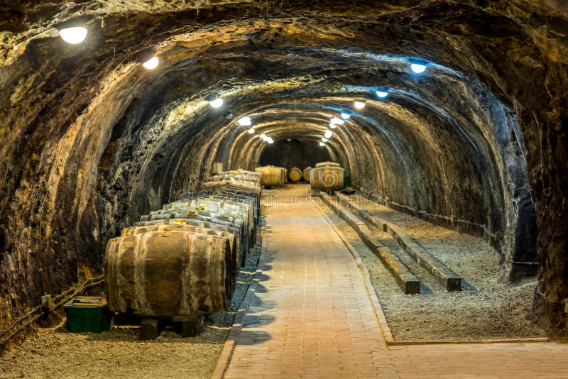 Cave avec des barils photos libres de droits