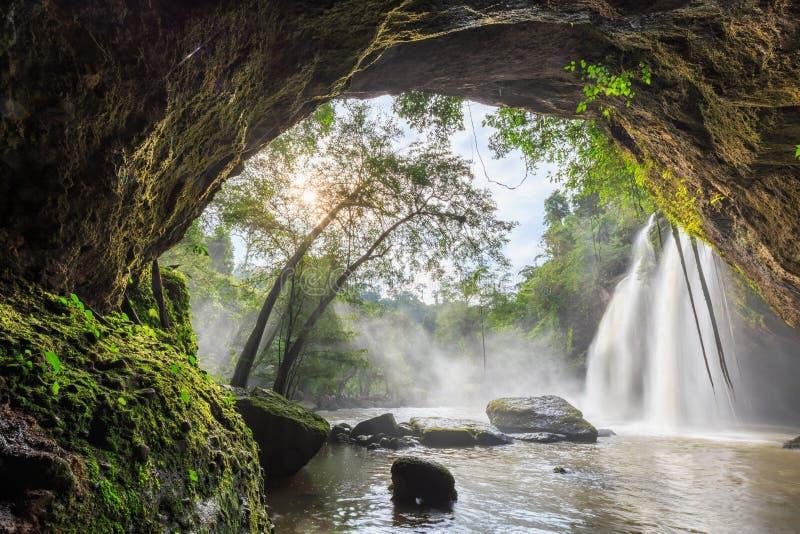 Cave and big waterfall. At Haew Suwat waterfall, Khaoyai, Thailand stock photography