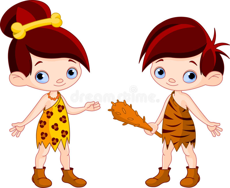 Cave boy and cave girl. Cute Cave boy with Club and cave girl