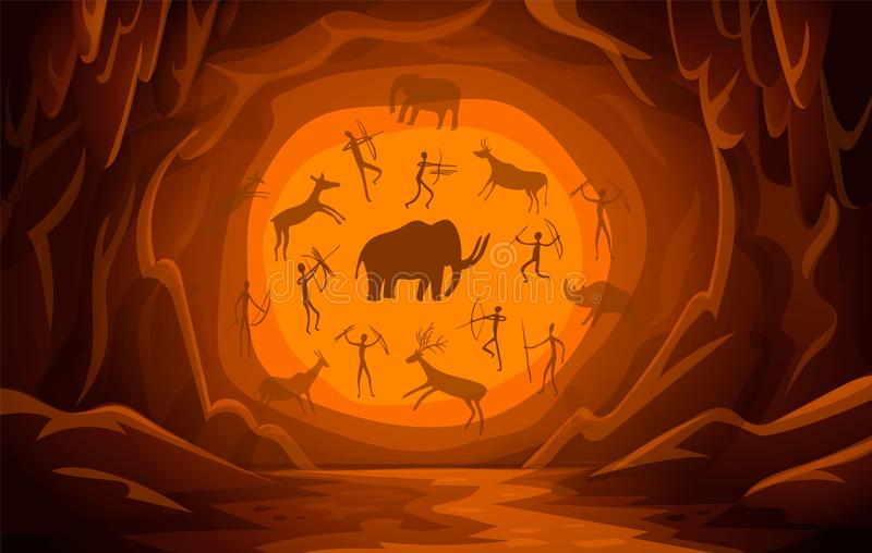 Cave with cave drawings. Cartoon mountain scene background Primitive cave paintings. ancient petroglyphs. vector illustration