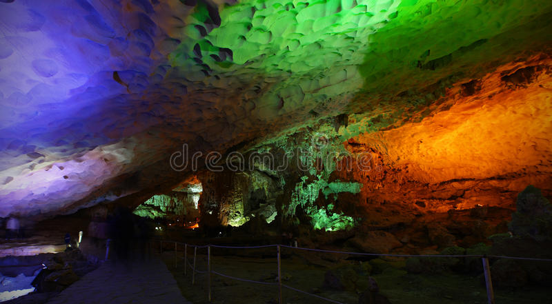 Cave or cavern with colorful lights open for tourism