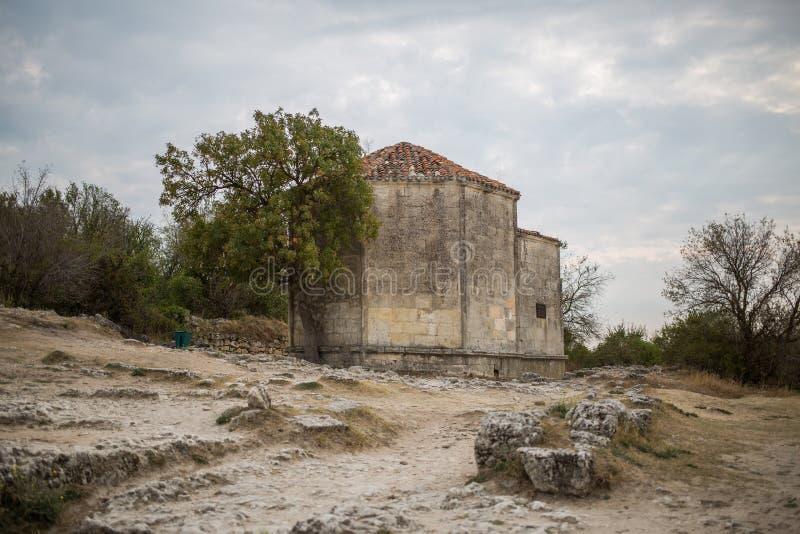 Cave city Chufut-Kale. Mausoleum Janicke Khanum of the XV century. Bakhchisaray. Crimea stock photos
