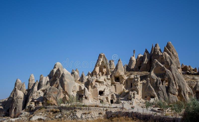 Cave city fortress in Cappadocia. Cave city fortress, rock sites of Cappadocia, Kapadokya, Turkey royalty free stock photography