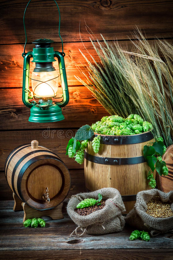 Cave complètement des ingrédients pour la bière faite maison image libre de droits