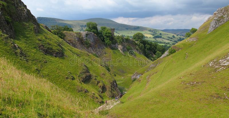 Cave Dale in the Peak District, Northern England. Cave Dale in Castleton in the Peak District National Park, Great Britain stock photo
