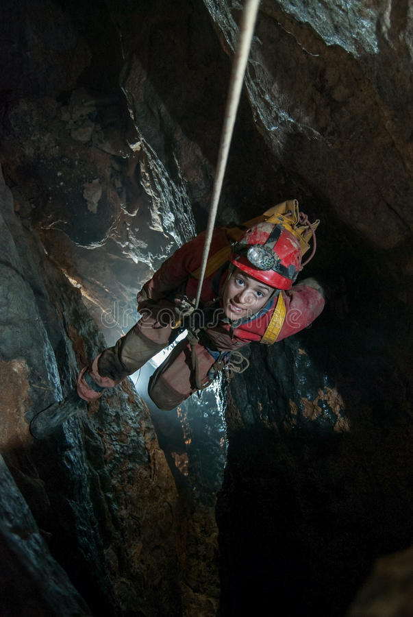 Cave descent royalty free stock image