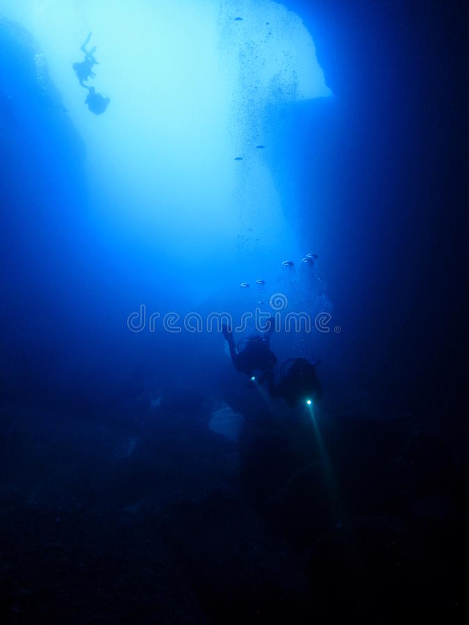 Cave divers stock images