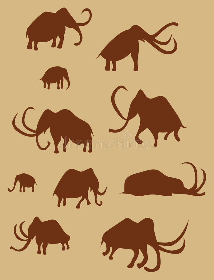 Cave Drawings Of Ancient Mammoths royalty free stock photography