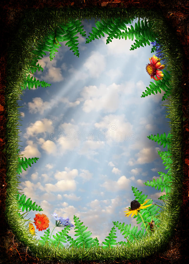 Cave entrance. Perspective of looking out of a hole or cave in the ground surrounded by ferns flowers and insects. Light is shining into the hole royalty free illustration