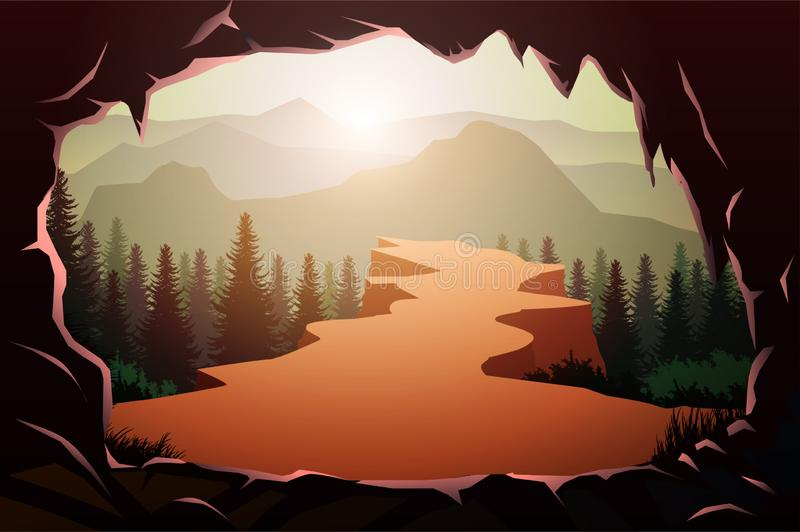 Cave entrance in natural Pine forest mountains horizon Landscape wallpaper Sunrise and sunset Illustration vector style royalty free illustration