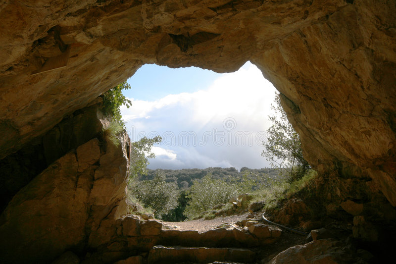 Cave exit stock photo