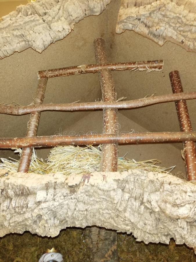 Cave with straw decorated for Christmas holidays royalty free stock images