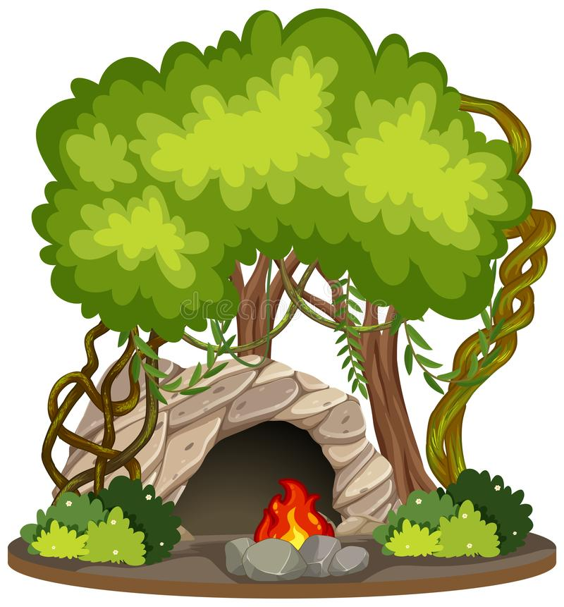 Cave with fire pit nature scene. Illustration royalty free illustration