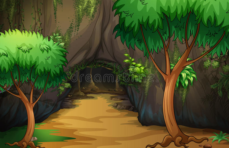 A cave at the forest stock illustration