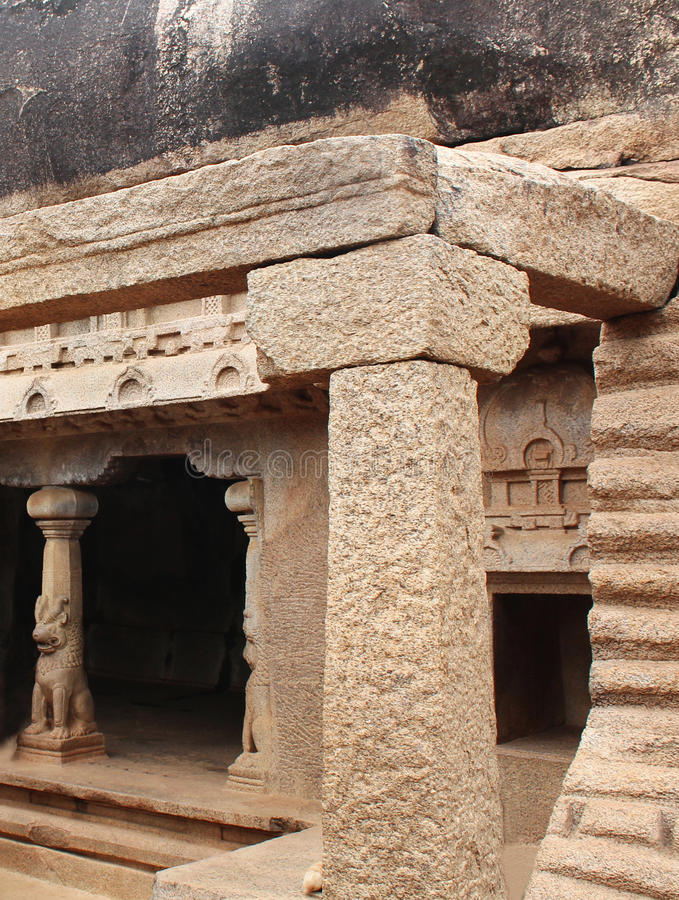 Cave hall. Ancient monuments -UNESCO World Heritage centre- Group of Monuments at Mahabalipuram- Founded by the Pallava kings, was carved out of rock along the stock images